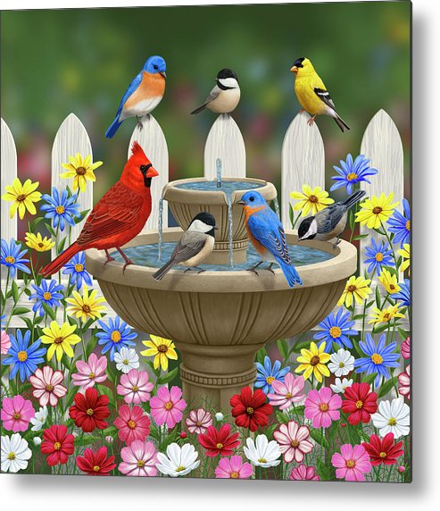 Birds Metal Print featuring the painting The Colors Of Spring - Bird Fountain In Flower Garden by Crista Forest