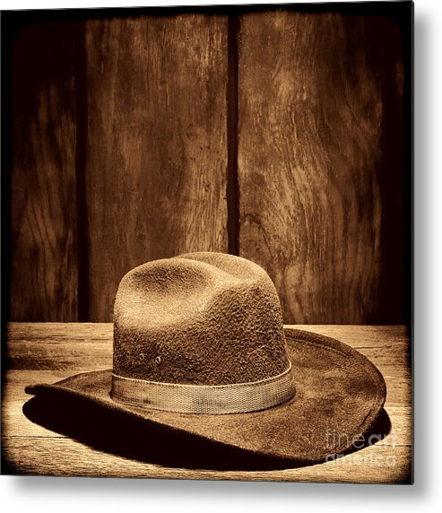 Cowboy Hat Metal Print featuring the photograph The Dirty Brown Hat by American West Legend By Olivier Le Queinec