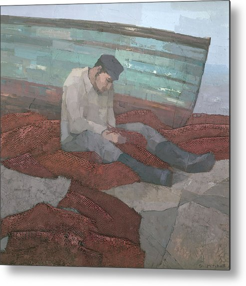 Mixed Metal Print featuring the painting The Fisherman by Steve Mitchell