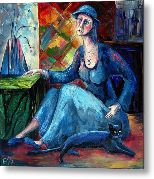 Reality Metal Print featuring the painting The Jeans Girl. 20 Years Later by Elisheva Nesis
