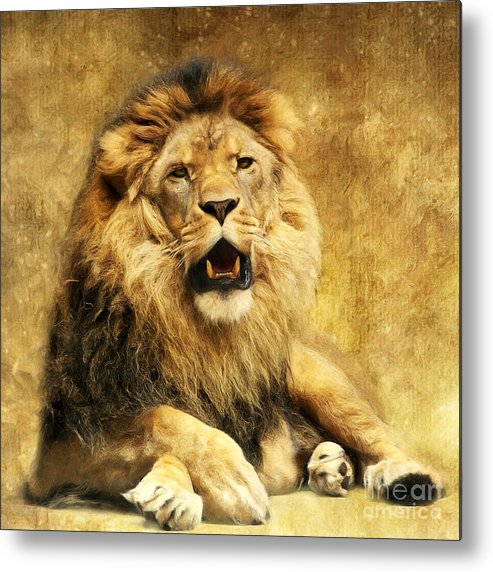 Lion Metal Print featuring the digital art The King by Angela Doelling AD DESIGN Photo and PhotoArt