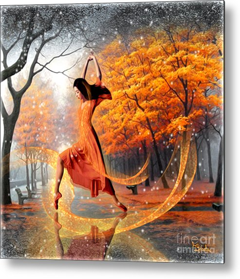 The Last Dance Of Autumn Metal Print featuring the digital art The Last Dance Of Autumn - Fantasy Art by Giada Rossi