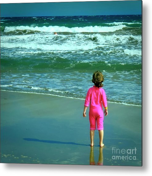 Little Girl Metal Print featuring the photograph The Little Girl And The  Ocean by GabeZ Art 668cfe12f