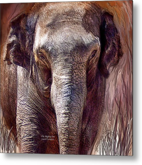 Elephant Metal Print featuring the mixed media The Mighty One by Carol Cavalaris