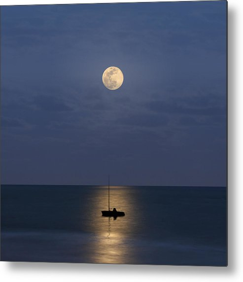 Square Metal Print featuring the photograph The Moon Guide Us by Carlos Gotay