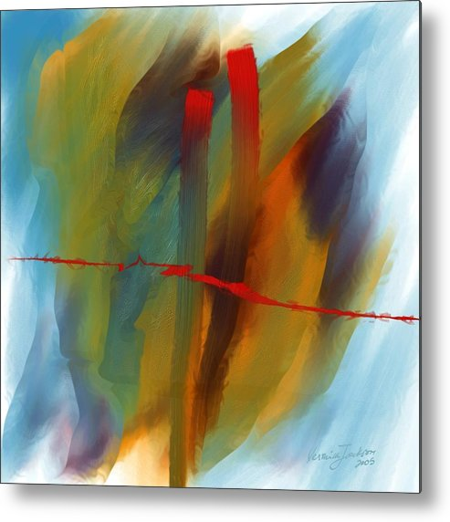 Red Abstract Lines Soft Moves Air Water Metal Print featuring the digital art The Red Line by Veronica Jackson