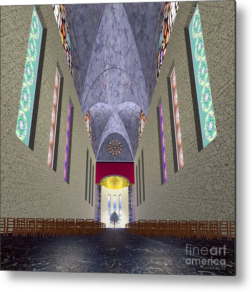 Architecture Metal Print featuring the digital art The Sacred Tree by Walter Oliver Neal