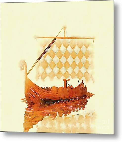 Viking Metal Print featuring the painting The Viking Ship by Pierre Blanchard