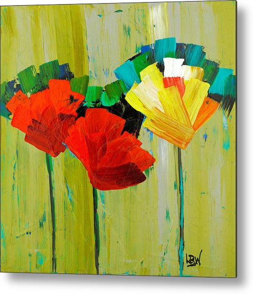 Abstracts Metal Print featuring the painting The Yellow One by Lynda Bee White