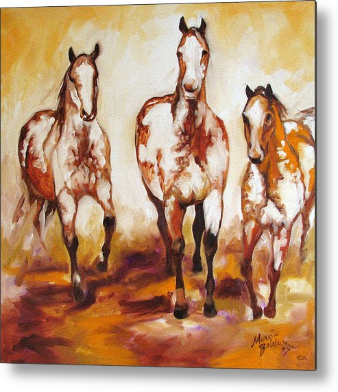 Horse Metal Print featuring the painting Three Pinto Indian Ponies by Marcia Baldwin