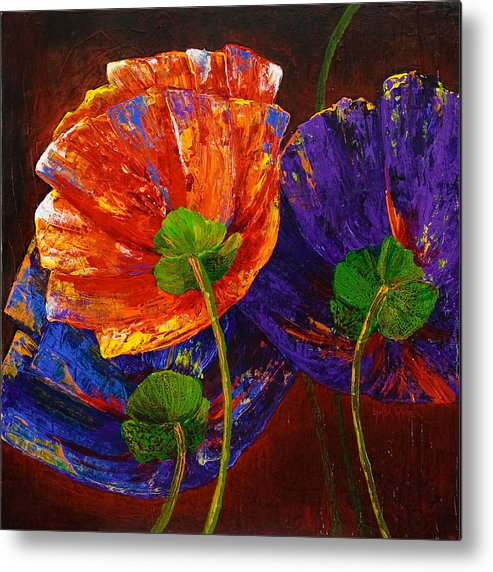 Watercolours Metal Print featuring the painting Three Poppies by Lynda Bee White