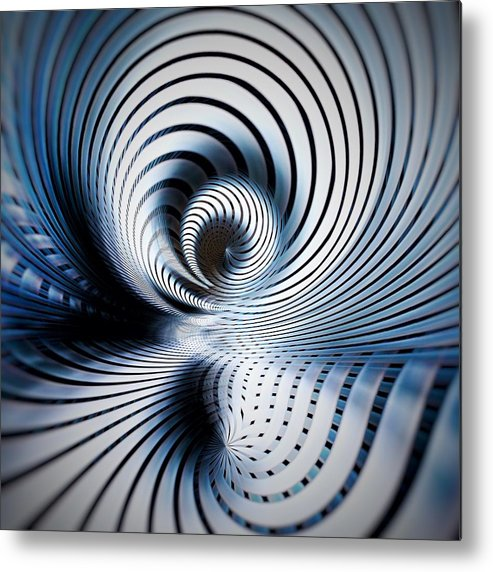 Digital Art Metal Print featuring the mixed media Interlock Blue by Philip Openshaw