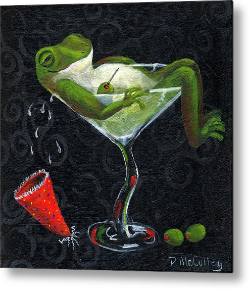 Frog Metal Print featuring the painting Toadally Under The Influence by Debbie McCulley