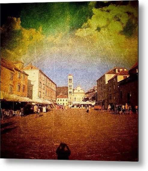 Edit Metal Print featuring the photograph Town Square #edit - #hvar, #croatia by Alan Khalfin