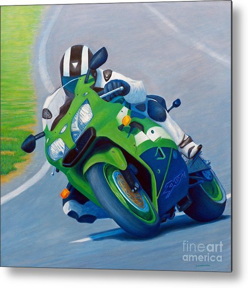 Motorcycle Metal Print featuring the painting Track Day - Kawasaki Zx9 by Brian Commerford