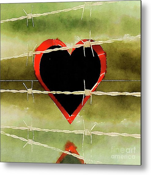 Heart Metal Print featuring the painting Trapped Heart by Pierre Blanchard