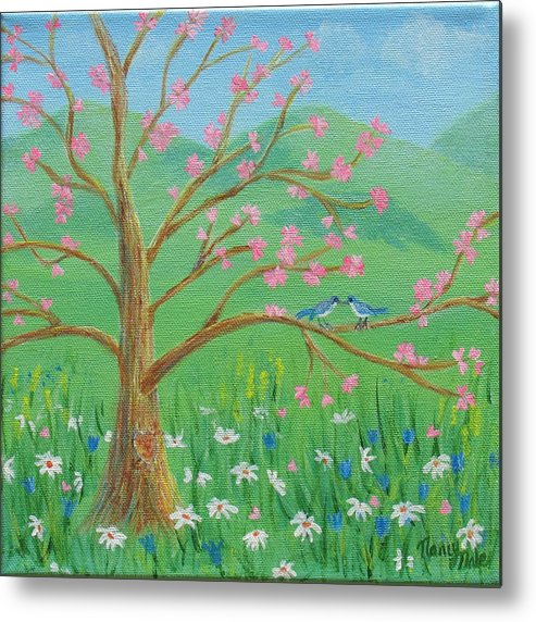 Tree Metal Print featuring the painting Tree For Two by Nancy Nale