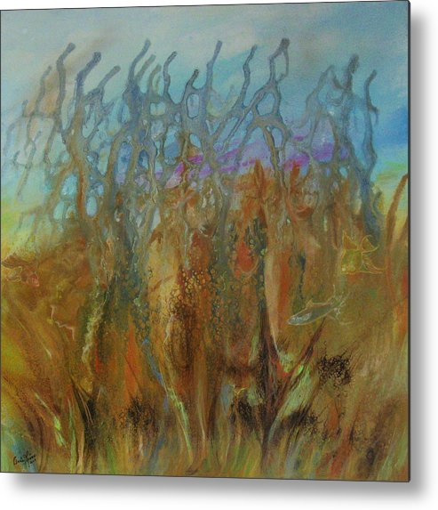 Contemporary Sea Metal Print featuring the painting Tresors Des Mers by Annie Rioux