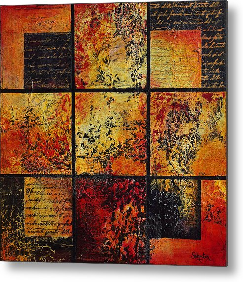 Abstract Metal Print featuring the painting Trial By Fire by Cindy Johnston
