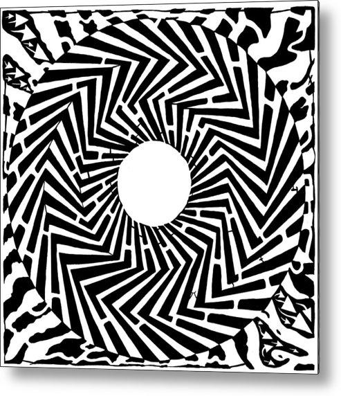 Swirly Metal Print featuring the drawing Trippy Optical Illusion Swirly Maze by Yonatan Frimer Maze Artist