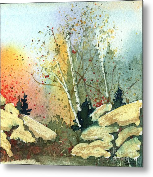 Landscape Metal Print featuring the painting Triptych Panel 3 by Lynn Quinn
