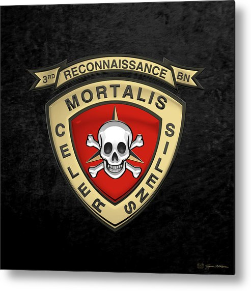 'military Insignia & Heraldry' Collection By Serge Averbukh Metal Print featuring the digital art U S M C 3rd Reconnaissance Battalion - 3rd Recon Bn Insignia Over Black Velvet by Serge Averbukh