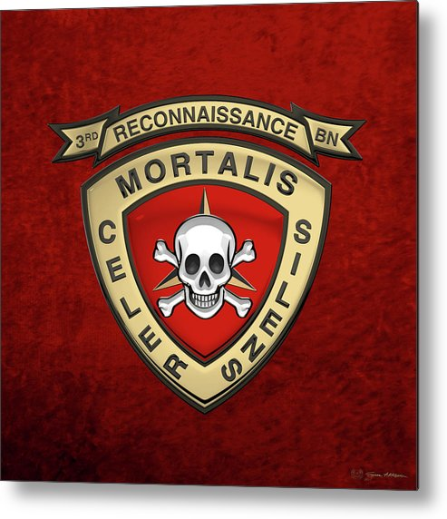'military Insignia & Heraldry' Collection By Serge Averbukh Metal Print featuring the digital art U S M C 3rd Reconnaissance Battalion - 3rd Recon Bn Insignia Over Red Velvet by Serge Averbukh