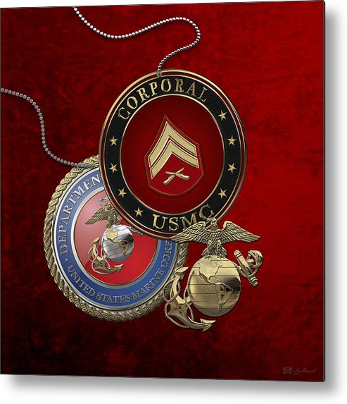 �military Insignia 3d� By Serge Averbukh Metal Print featuring the digital art U. S. Marines Corporal Rank Insignia Over Red Velvet by Serge Averbukh