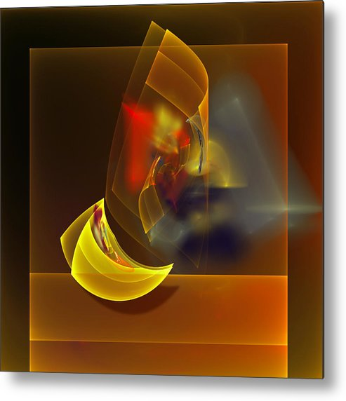 Digital Metal Print featuring the digital art Van Gogh Drink All The Wine But The Remaining Cheese. by Tautvydas Davainis