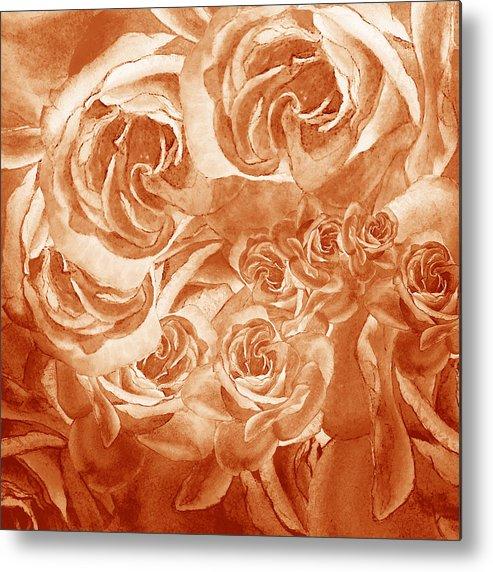 Rose Metal Print featuring the painting Vintage Rose Petals Abstract by Irina Sztukowski