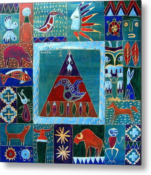 Native Metal Print featuring the painting Vision Of Native North America by Aliza Souleyeva-Alexander