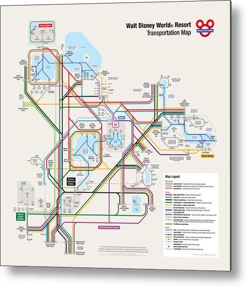 Walt Disney World Resort Transportation Map Metal Print by Arthur De ...