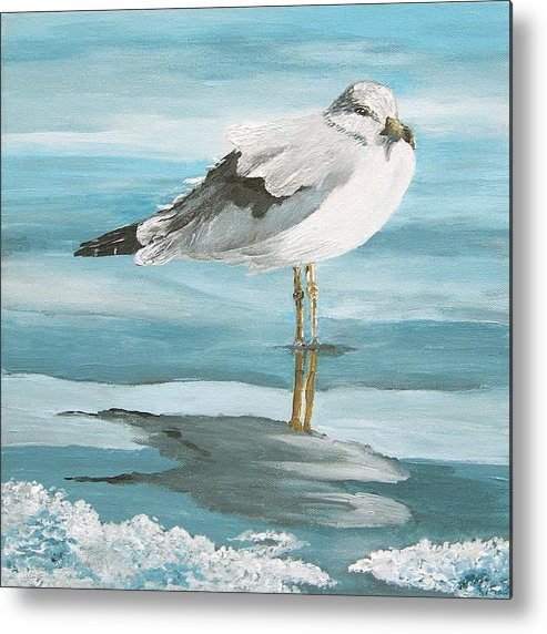 Sea Metal Print featuring the painting Wary Seagull 2 by Linda Speaker