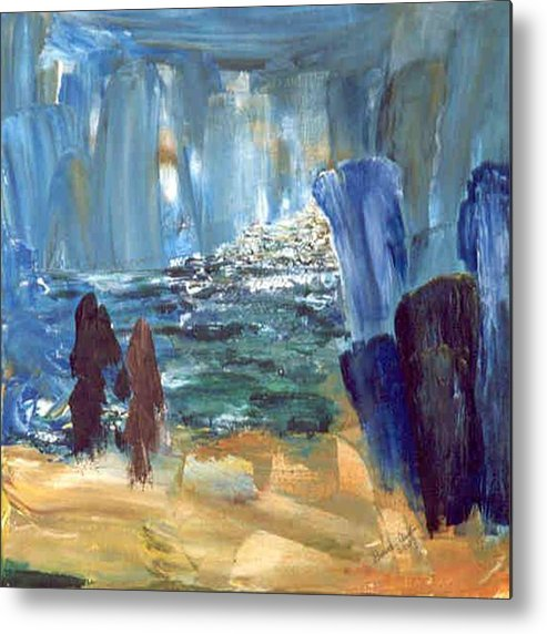 Blue Metal Print featuring the painting Water Rite by Bruce Combs - REACH BEYOND