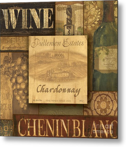 Wine Metal Print featuring the painting White Wine Collage by Grace Pullen