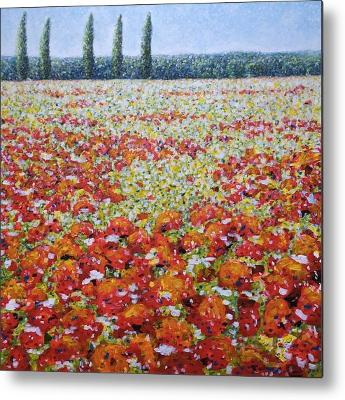 Landscape Metal Print featuring the painting Wild Poppies by Martin Hyross