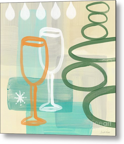Wine Metal Print featuring the painting Wine For Two by Linda Woods