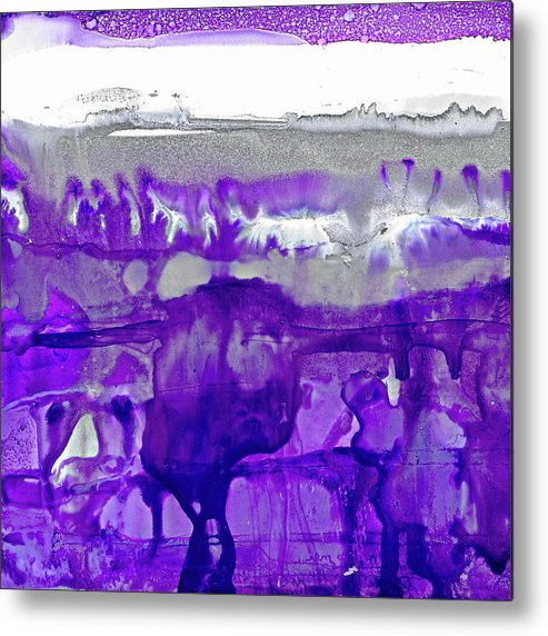 Winter Metal Print featuring the painting Winter In Purple And Silver by Dana Roper