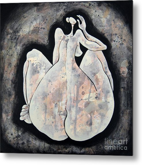 Body Metal Print featuring the painting Woman 13 From When De Body Talks Collection by Son Of the Moon