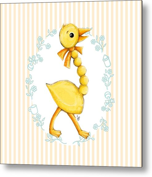 Duck Metal Print featuring the digital art Yellow Baby Duck by Cindy Garber Iverson