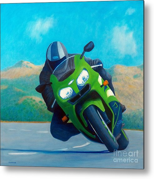Motorcycle Metal Print featuring the painting Zx9 - California Dreaming by Brian Commerford