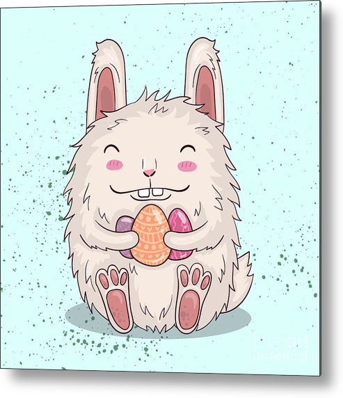 Template Metal Print featuring the photograph Easter Funny Bunny With Eggs. Vector by Maria Sem