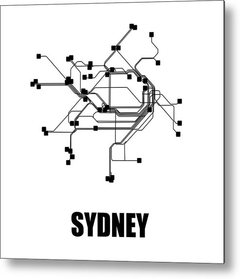Sydney Metal Print featuring the digital art Sydney White Subway Map 1 by Naxart Studio