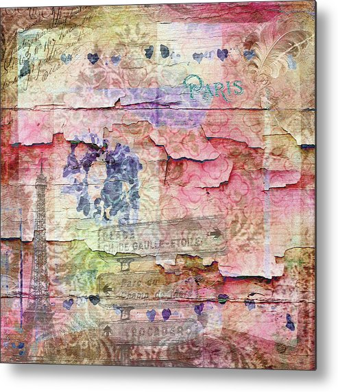 Eiffel Tower Art Metal Print featuring the mixed media A City Besieged by Paula Ayers