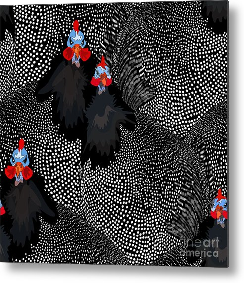 Template Metal Print featuring the digital art Abstract Illustration Of Two Rooster by Viktoriya Pa