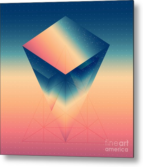 Sizable Metal Print featuring the digital art Abstract Isometric Prism With The by Boris Znaev