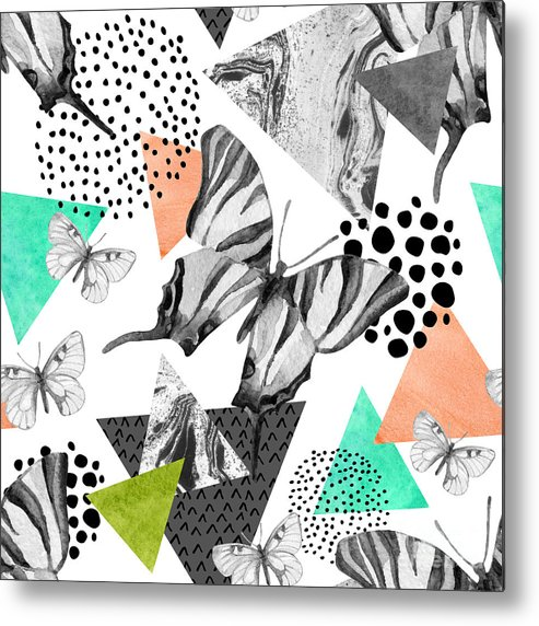 Marbling Metal Print featuring the digital art Abstract Natural Geometric Seamless by Tanya Syrytsyna