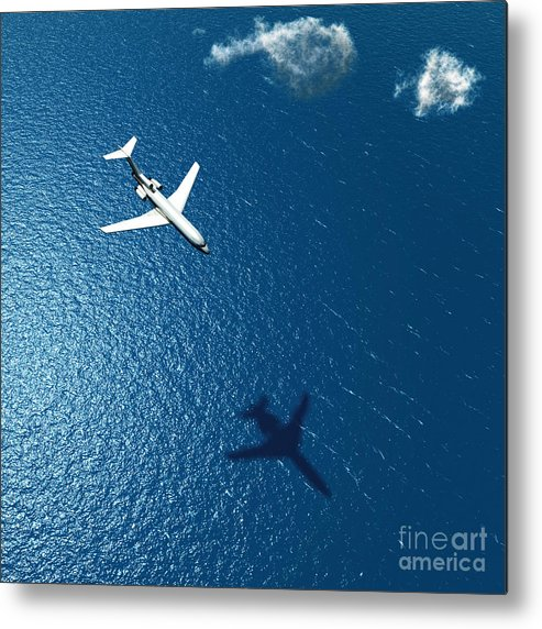 Atmosphere Metal Print featuring the photograph Airplane Flies Over A Sea by Photobank Gallery