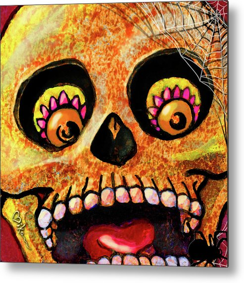 Day Of The Dead Metal Print featuring the painting Aranas Sugarskull Of Spiders by Miko Zen