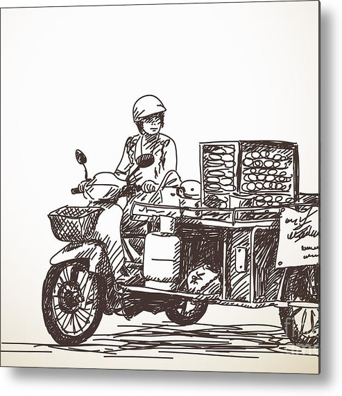 Seller Metal Print featuring the photograph Asian Street Food On Motorbike, Hand by Art Of Line